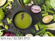 Купить «green vegetables and cream soup in ceramic bowl», фото № 32581013, снято 12 апреля 2018 г. (c) Syda Productions / Фотобанк Лори