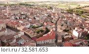 Aerial view on the Medina de Rioseco. Valladolid province. Castilla y Leon. Spain (2019 год). Стоковое видео, видеограф Яков Филимонов / Фотобанк Лори