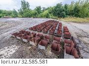 Roof of Object 1180 - Soviet abandoned reserve command post bunker of Warsaw Pact from Cold War period near Oliscani village in Moldova. Стоковое фото, фотограф Konrad Zelazowski / easy Fotostock / Фотобанк Лори
