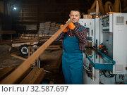 Carpenter works on woodworking machine, lumber. Стоковое фото, фотограф Tryapitsyn Sergiy / Фотобанк Лори