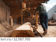 Joiner works on woodworking machine, lumbering. Стоковое фото, фотограф Tryapitsyn Sergiy / Фотобанк Лори