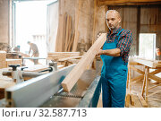 Carpenter with board near plane machine, carpentry. Стоковое фото, фотограф Tryapitsyn Sergiy / Фотобанк Лори