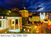 Evening illumination on the streets of Karlovy Vary. Czech Republic. Стоковое фото, фотограф Яков Филимонов / Фотобанк Лори