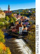 Купить «Cesky Krumlov cityscape with Castle, Czech Republic», фото № 32590189, снято 15 июля 2020 г. (c) Яков Филимонов / Фотобанк Лори
