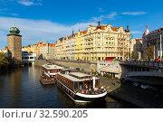 Купить «Beautiful view of the embankment of the Vltava river. Prague. Czech Republic», фото № 32590205, снято 10 декабря 2019 г. (c) Яков Филимонов / Фотобанк Лори
