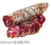 Piacenza salami cut in slices on a wooden surface, close-up. Стоковое фото, фотограф Яков Филимонов / Фотобанк Лори