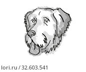 Купить «Retro cartoon style drawing of head of an.Aussiedoodle , a domestic dog or canine breed on isolated white background done in black and white.», фото № 32603541, снято 15 сентября 2019 г. (c) easy Fotostock / Фотобанк Лори
