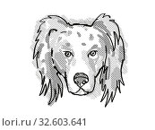 Купить «Retro cartoon style drawing of head of an Australian Shepherd dog , a domestic dog or canine breed on isolated white background done in black and white.», фото № 32603641, снято 15 сентября 2019 г. (c) easy Fotostock / Фотобанк Лори