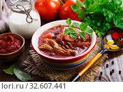 Борщ с мясом и красной фасолью. Стоковое фото, фотограф Надежда Мишкова / Фотобанк Лори
