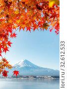 Mt. Fuji in autumn at Kawaguchiko or lake Kawaguchi in Fujikawaguchiko Japan (Selective Focus at Maple Leaf) Стоковое фото, фотограф Zoonar.com/Vichaya Kiatying-Angsulee / easy Fotostock / Фотобанк Лори