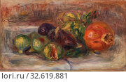 Купить «Pierre-Auguste Renoir: Pomegranate and Figs (Grenade et figues), Pierre-Auguste Renoir, 1917, Oil on canvas, Overall: 9 3/16 x 15 7/8 in. (23.3 x 40.3 cm)», фото № 32619881, снято 10 июля 2020 г. (c) age Fotostock / Фотобанк Лори