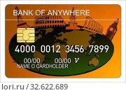 Купить «Illustration of orange metallic credit card with world icon design isolated on white background done in retro style.», фото № 32622689, снято 5 апреля 2020 г. (c) easy Fotostock / Фотобанк Лори