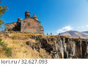Medieval armenian monastery Saghmosavank, located near  gorge of Kassakh river. Ashtarak district, Armenia (2018 год). Стоковое фото, фотограф Наталья Волкова / Фотобанк Лори