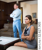 Купить «Upset woman with frustrated husband», фото № 32627905, снято 17 августа 2019 г. (c) Яков Филимонов / Фотобанк Лори
