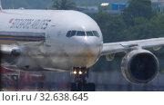 Купить «Airplane turn runway before departure», видеоролик № 32638645, снято 14 ноября 2019 г. (c) Игорь Жоров / Фотобанк Лори