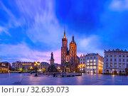 Купить «Main market square, Krakow, Poland», фото № 32639073, снято 9 мая 2019 г. (c) Коваленкова Ольга / Фотобанк Лори