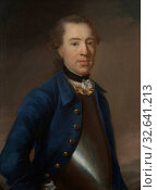Johan Henrik Scheffel, Salomon Schützer, Unknown man (called Lieutenant Colonel Salomon Schützer), painting, 1750, Oil, Height, 79 cm (31.1 inches), Width, 65 cm (25.5 inches) (2019 год). Редакционное фото, фотограф ARTOKOLORO QUINT LOX LIMITED / age Fotostock / Фотобанк Лори