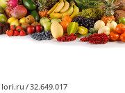 Купить «Fresh fruits pile on white», фото № 32649017, снято 29 октября 2018 г. (c) Иван Михайлов / Фотобанк Лори