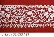 Insertion (For a Cover), c. 1620/40, Italy, Linen, needle lace, embellished with glass beads, edged with bobbin straight lace, 86.8 x 9.6 cm (34 1/4 x 3 3/4 in.) Редакционное фото, фотограф ARTOKOLORO QUINT LOX LIMITED / age Fotostock / Фотобанк Лори