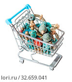 Купить «Shopping cart with tangled necklace from gemstones isolated on white background», фото № 32659041, снято 10 мая 2020 г. (c) easy Fotostock / Фотобанк Лори