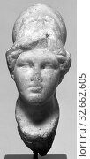 Small Head of Athena (Worked for Insertion into a Statuette), Unknown, Greece (?), 1st century B.C. - 1st century A.D., Marble, white, 17 x 7.1 x 10.1 cm (6 11/16 x 2 13/16 x 4 in.) (2019 год). Редакционное фото, фотограф ARTOKOLORO QUINT LOX LIMITED / age Fotostock / Фотобанк Лори