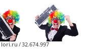 Купить «Funny clown with keyboard on white», фото № 32674997, снято 8 мая 2013 г. (c) Elnur / Фотобанк Лори