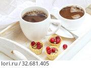 Купить «Fruit cupcakes with hazelnuts on a white background», фото № 32681405, снято 16 декабря 2019 г. (c) Марина Володько / Фотобанк Лори