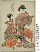 Купить «Oshu of the Yamaguchiya, from the series Models for Fashion: New Designs as Fresh as Young Leaves (Hinagata wakana no hatsu moyo), c. 1777/78, Isoda Koryusai...», фото № 32686697, снято 4 июля 2020 г. (c) age Fotostock / Фотобанк Лори