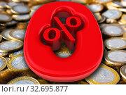 Купить «Ноль процентов. Красный символ лежит на российских монетах», иллюстрация № 32695877 (c) WalDeMarus / Фотобанк Лори