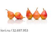 Ripe pears isolated on a white background. Стоковое фото, фотограф Ласточкин Евгений / Фотобанк Лори