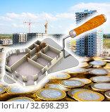 Купить «Покупка квартиры в строящемся доме», иллюстрация № 32698293 (c) WalDeMarus / Фотобанк Лори