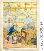 The Dissolution, or The Alchymist Producing an Aetherial Representation, published May 21, 1796, James Gillray (English, 1756-1815), published by Hannah... Редакционное фото, фотограф ARTOKOLORO QUINT LOX LIMITED / age Fotostock / Фотобанк Лори