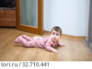 Купить «Six month baby trying to creep on laminate floor in domestic room», фото № 32710441, снято 8 декабря 2019 г. (c) Кекяляйнен Андрей / Фотобанк Лори
