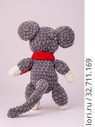 Купить «Funny knitted teddy mouse, Rear view, white background», фото № 32711169, снято 13 декабря 2019 г. (c) Иванов Алексей / Фотобанк Лори