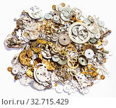 Купить «Watchmaker workshop - heap of old watch spare parts on white background», фото № 32715429, снято 29 января 2020 г. (c) easy Fotostock / Фотобанк Лори