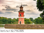 MORITZBURG, GERMANY - AUGUST 21: Lighthouse in the public park of the castle of Moritzburg, Germnay on August 21, 2018. Стоковое фото, фотограф Zoonar.com/manfredxy / age Fotostock / Фотобанк Лори