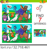 Cartoon Illustration of Finding Differences Between Pictures Educational Activity Game for Children with Birds Animal Characters Group. Стоковое фото, фотограф Zoonar.com/Igor Zakowski / easy Fotostock / Фотобанк Лори
