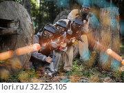 Купить «Paintball players shooting with guns», фото № 32725105, снято 22 января 2020 г. (c) Яков Филимонов / Фотобанк Лори