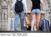 Купить «Couple going the historic city center», фото № 32725221, снято 25 мая 2017 г. (c) Яков Филимонов / Фотобанк Лори