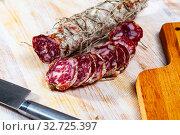Italian dry-cured Salami sausage. Стоковое фото, фотограф Яков Филимонов / Фотобанк Лори
