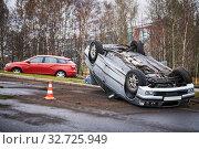 Купить «car crash accident on street. damaged automobiles», фото № 32725949, снято 1 ноября 2019 г. (c) Дмитрий Калиновский / Фотобанк Лори