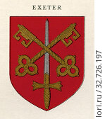 Coat of arms of the Diocese of Exeter. From Cathedrals, published 1926. Редакционное фото, фотограф Classic Vision / age Fotostock / Фотобанк Лори
