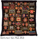 Купить «Quilt with Buildings, Animals, and Coats of Arms, c. 1890, United States, New York, or Great Britain, New York, Appliquéd and embroidered quilt, dyed and...», фото № 32752353, снято 17 сентября 2019 г. (c) age Fotostock / Фотобанк Лори