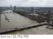 London, Great Britain, view of the Palace of Westminster and Westminster Bridge on the Thames (2017 год). Редакционное фото, агентство Caro Photoagency / Фотобанк Лори