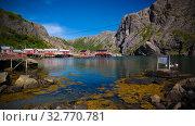 Sea landscape of Nusfjord village and harbour at flakstadoya Island , Lofoten , Norway (2017 год). Стоковое фото, фотограф Сергей Майоров / Фотобанк Лори