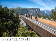 Spectacular Stegastein viewing platform above Aurlandsfjord. It is located on national tourist route Aurlandsfjellet. Norway (2018 год). Редакционное фото, фотограф Кекяляйнен Андрей / Фотобанк Лори