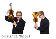 Купить «Young musician with violin isolated on white», фото № 32782681, снято 17 января 2014 г. (c) Elnur / Фотобанк Лори