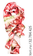 Купить «Knotted silk scarf with abstract red and green ornament hand painted in nodular technique isolated on white background», фото № 32784425, снято 12 июля 2020 г. (c) easy Fotostock / Фотобанк Лори