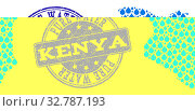 Купить «Map of Kenya vector mosaic and Pure Water grunge stamp. Map of Kenya created with blue aqua dews. Seal with retro rubber texture for clear drinking water.», фото № 32787193, снято 1 июня 2020 г. (c) easy Fotostock / Фотобанк Лори