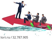 The teamwork concept with businessmen on boat. Стоковое фото, фотограф Elnur / Фотобанк Лори
